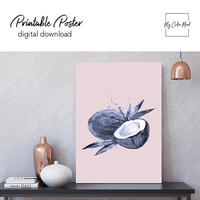 Coconut art print decor Wall art printable poster, Fruit art print Vegan artwork, Large pink navy blue kitchen art, Fruit nursery wall decor