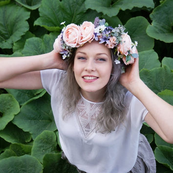 flower crown, wedding flower crown, floral crown, bridal wreatch, pink roses wreath, lavender flower crown, boho wrath, hair accessories
