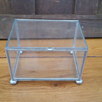 Vintage Silver Vitrine Rectangle Glass Display Box