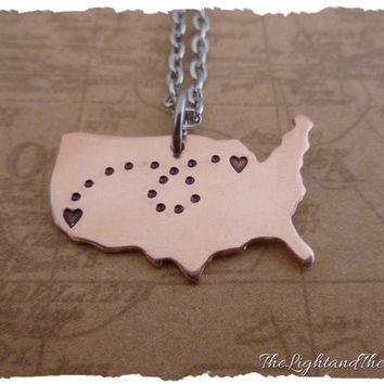 Long Distance Relationship Necklace - Ships FAST - Copper - USA- Map - Customize - LDR - Long Distance Love