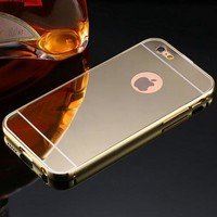 Luxury Plating Metal Aluminum Frame Back Mobile Cover Mirror Case for Apple iPhone 5 5S 6 6S /for iPhone6S 6 Plus 5.5-170928