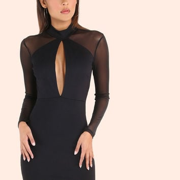 Turtleneck Peakaboo Mesh Sleeved Bodycon Dress BLACK | MakeMeChic.COM