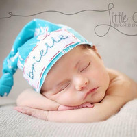 Baby name knot hat- teal cherry blossom knit fabric- hospital photo -newborn baby girl