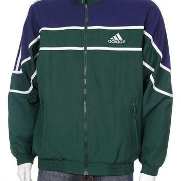 Vintage Adidas Windbreaker Tracksuit Top jacket Big logo Spell Out Blue/Green/White S