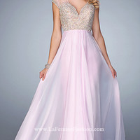 La Femme Prom Dress with Beaded Illusion Back