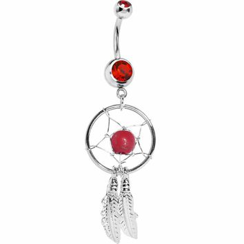 Red Native American Dreamcatcher Belly Ring