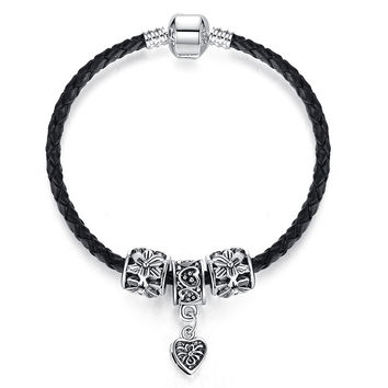 Antique Silver Plated Heart Charm Leather Bracelet