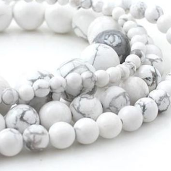 8mm Round White Howlite Beads