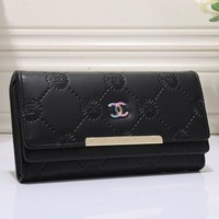 Day-First™ CHANEL Women Multicolor Leather Buckle Wallet Purse