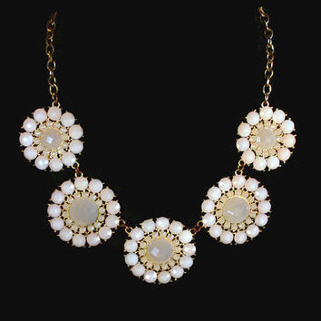 Vintage Flower Necklace, Faceted Cream Lucite Cabochons Set in Gold Tone