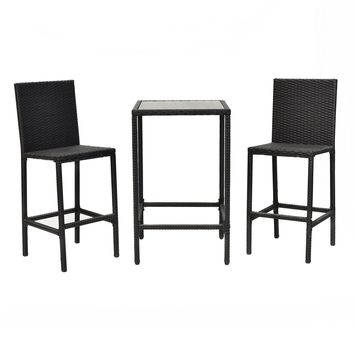 3PCS Rattan Wicker Bar Dining Bistro Barstool Chair Table Frame Furniture Set