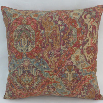 "Orange and Turquoise Oriental Carpet Print Pillow, Linen Blend 17"" Square, Ellen Beach Knoll Raisin, Southwest, Boho, Moroccan Decor"