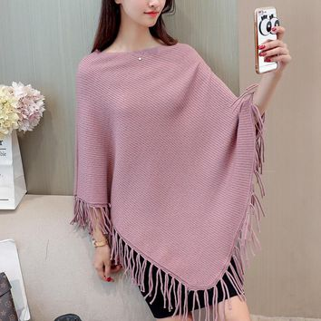 Autumn New Fashion Female Batwing Sleeve Slash Neck Sweater Tassel Loose Solid Color Grace Ladies Shawls Cloak Wraps