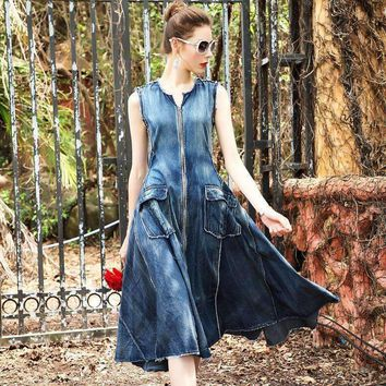 Denim Dress Women O Neck Pockets Zipper Sleeveless Cotton Blended Fabric Dress Ladies Style