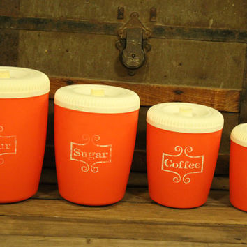 Vintage Plastic Orange Canisters- Set Of Four-1970s Kitchen- Storage Containers- Camping- Housewares- Mid Century- Flour- Sugar- Tea-Coffee