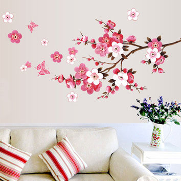 Cherry Blossom Wall Stickers Waterproof Tv Background Wallpaper Home Decor wall decals