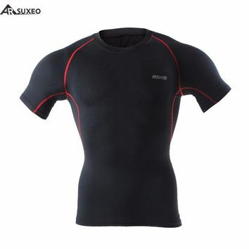 LMFLD1 2015 ARSUXEO Compression Shirts Base Layer Men Running Short Sleeves Gym Workout Shirts  Fitness Training  Clothing C51