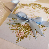Marie Antoinette Bleu Cameo Silhouette Wedding or Event Invitations in Palest of Blue and Gold with Hand Painted Pink Roses Invitations
