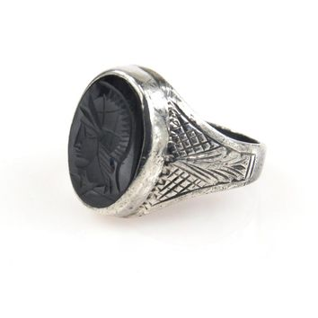 Victorian Sterling Mars Intaglio Signet Ring, Victorian, 1830s to 1900s
