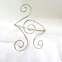 Silver tribal armlet, double spiral armband, gypsy arm cuff, gift under 30