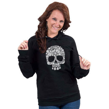 Floral Skull White American Apparel Pullover Hoodie