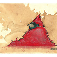 VA State Bird Print of Original Painting on Tea Stained Rives BFK Paper by Elliott Addesso - Virginia Cardinal Art