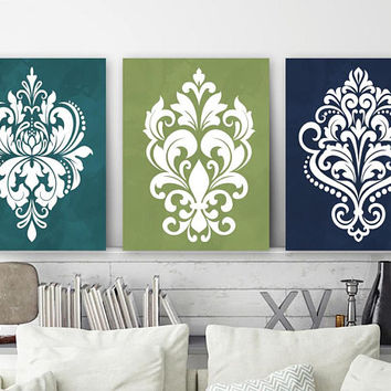 Teal Navy Green Bedroom Wall Decor, Damask Design CANVAS or Prints, Teal Navy Green Bathroom Decor, Damask Wall Art, Set of 3 Art Pictures