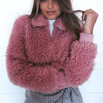 fuzzy fur fleece blouson jacket