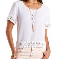 Crochet-Trim Chiffon Top by Charlotte Russe - White
