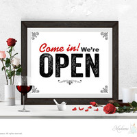 Come in we're open sign | printable art: instant download printable signage (vintage minimalist printable art, e-card, DIY art, wall art prints)