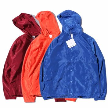 YouthCodes Army Coaches Hooded Jacket Think Double Layer Waterproof Windbreaker Vintage Wizard Solid Kanye Pablo Streetwear Men