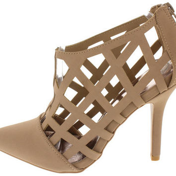 MIXI85 TAUPE NUBUCK PU CAGED POINTED TOE HEEL