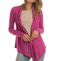 Striped Metamorphose Wrap Top in Fuchsia/Orion Blue