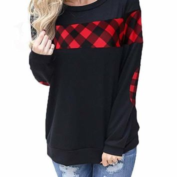 Red Color Block Plaid Shirt Crew Neck Elbow Patch Sweatshirt