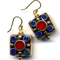 Tibet Earrings, Coral and Lapis Earrings, Nepal Beads on 18K Gold Filled Wire, Handmade Nepal Jewelry by AnnaArt72