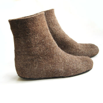 Felt Boots Valenki, Unisex Felt Slippers, Organic Brown, Ankle Boots, Rubber Soles, Eco Friendly, Minimalist Shoes, for Him, for Her