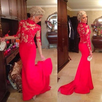 Prom  Dresses 2017 Glamorous Red Lace See Through Long Sleeve Mermaid Party Evening Gown Formal High Neck Chiffon  Dress