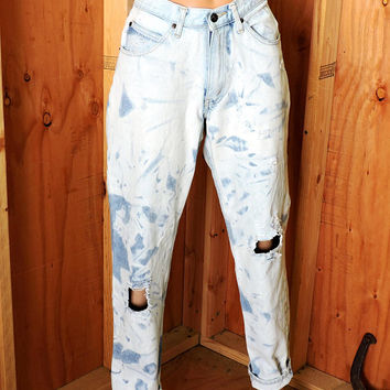 High waisted Distressed jeans  29 X 31 size 7 / 80's high waisted faded frayed denim jeans / vintage Brittania jeans
