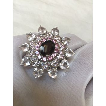 Vintage Handmade Genuine Smoky Topaz Pink Tourmaline and white sapphire 925  Sterling Silver gothic flower Ring