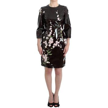 Dolce & Gabbana Black Patent Floral Handpainted Dress