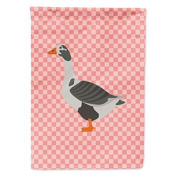 West of England Goose Pink Check Flag Garden Size