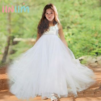 Girls Sequined Sleeveless Flower Girl Dress Princess Pageant Wedding Bridesmaid Vestidos Dresses Birthday Party Dress Size 4-14