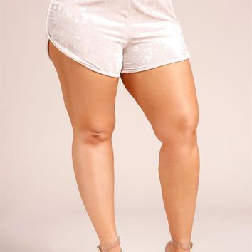 Plus Size Clothing | Plus Size Crushed Velvet Dophin Shorts | Debshops