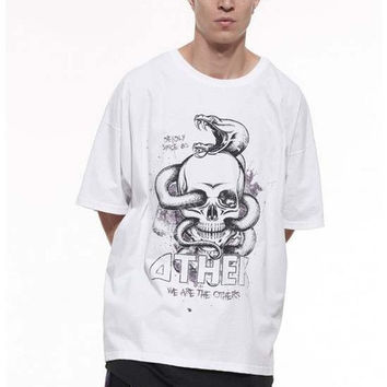 hipster streetwear harajuku swag kpop mens clothing kanye metallica sugar skull graphic tees men oversized white t shirt