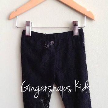 Deux Par Deux Black Lace Leggings (sz 6mo-12)