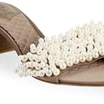 Tory Burch Tatiana Satin and Pearl Embellished Slide Sandals, Dust