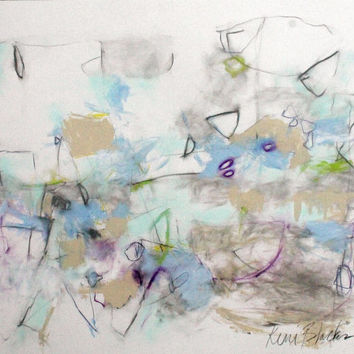 "Abstract Expressionist Art on Paper, Gestural Intuitive Modern Painting, Light Blue, Gray, ""Water Dance"""