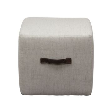 Ritz Cube Ottoman in Sand Faux Linen with Designer Handlee