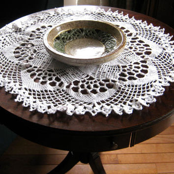"Large Round Doily, Crocheted Doily, 29""  Round Centerpiece, White Table Topper, Pineapple Pattern Doily, Crochet Tablecloth, White Linens"