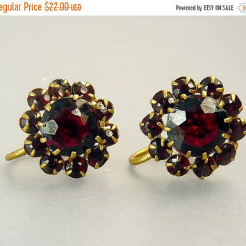Vintage Czech Garnet Rhinestone Earrings
